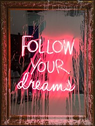 Follow Your Dreams by Mr. Brainwash - Neon Lightbulb and Acrylic on Framed Mirror sized 34x45 inches. Available from Whitewall Galleries